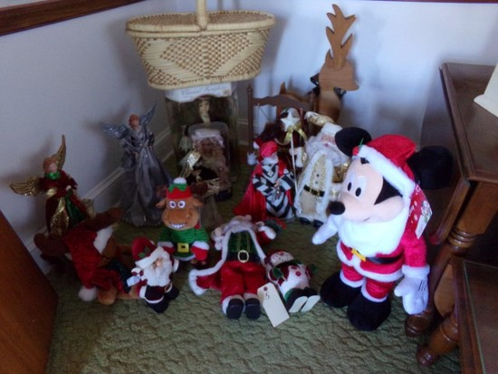 LARGE LOT OF CHRISTMAS DECORATIVES INCLUDING WISE MEN ANGLES SANTA CLAUSE A