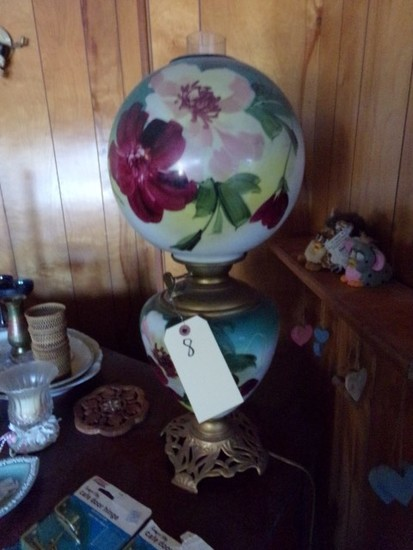 ANTIQUE OIL LAMP CONVERTED GONE WITH WIND STYLE