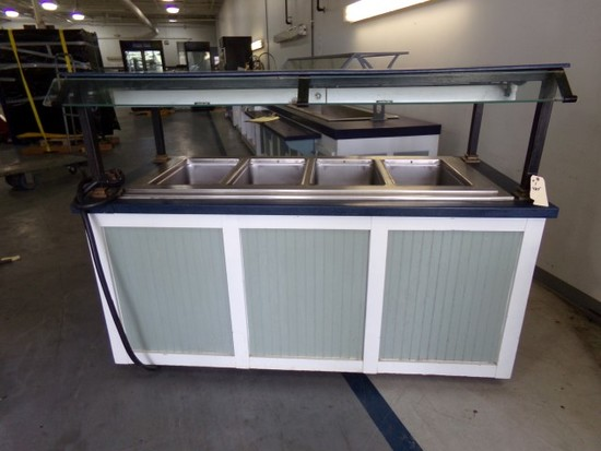 STEAM TABLE WITH 4 FULL SIZE DROP IN WELL 2 HATCO HEAT LAMPS MOUNTED ON CAS