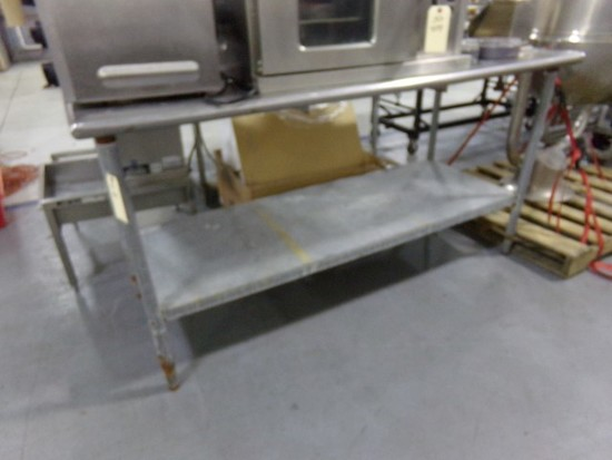 STAINLESS STEEL TABLE 72 X 30 WITH SHELF