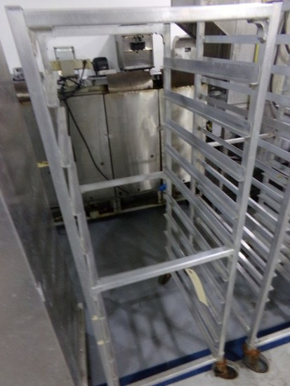 ALUMINUM FULL SIZE SHEET TRAY RACK ON CASTERS 10 TRAY