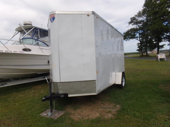 #1401 2017 ENCLOSED TRAILER BY INTERSTATE 6 X 12 VNOSE SINGLE AXLE RAMP GAT