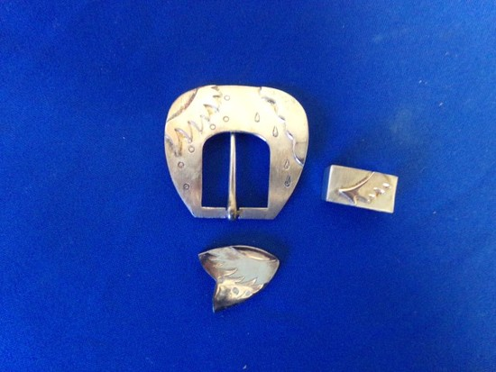 MEXICAN STERLING BUCKLE- TIP& SLIDE (1.87 Toz)