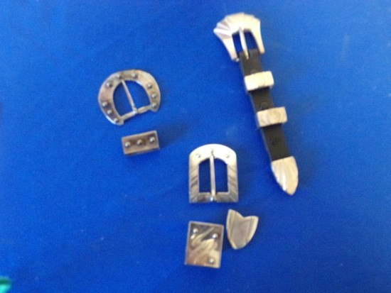 9PC MEXICAN STERLING BUCKLES- TIPS & SLIDES (6.57 Toz)