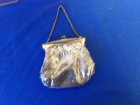 SILVER BEAD PURSE & CONTENTS-COSTUME JEWELRY& BUFFALO NICKEL