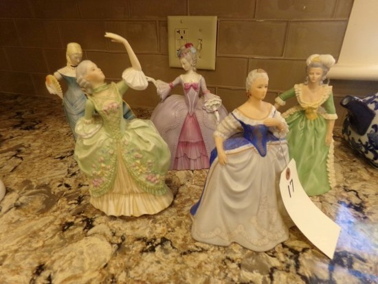 COLLECTION FIVE FRANKLIN PORCELAIN FIGURINES LIMITED EDITION