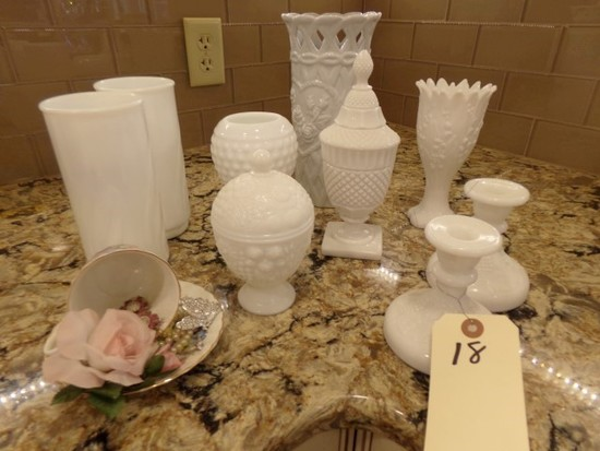 COLLECTION OF MILK GLASS TO INCLUDE CANDLE STICKS VASES COVERED PEDESTAL BO