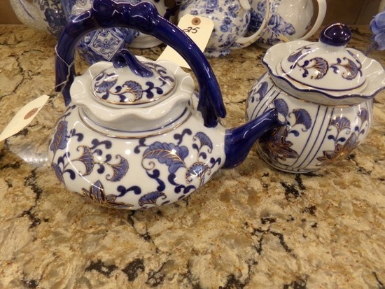 TEA POT BLUE WHITE AND GOLD WITH MATCHING COVERED SUGAR
