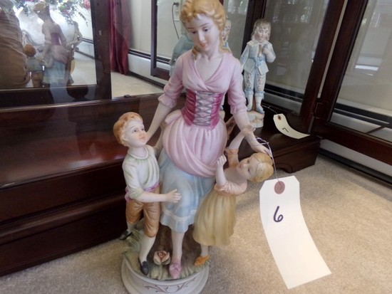 PORCELAIN FIGURINE APPROXIMATELY 12 INCHES TALL MOTHER WITH CHILDREN