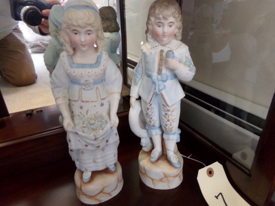 MATCHED PAIR FIGURINES VICTORIAN STYLE APPROXIMATELY 10 INCHES TALL