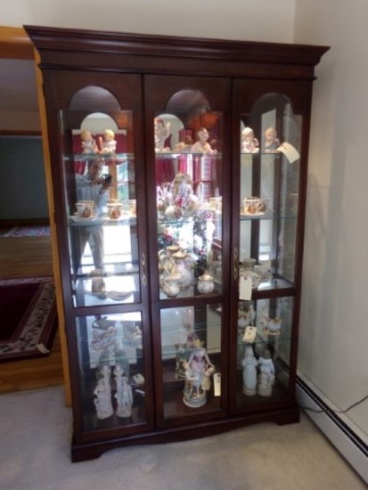WALNUT CHINA CABINET LIGHTED GLASS SHELVES TWO DOOR APPROXIMATELY 78 INCHES