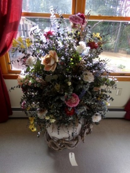 LARGE FLOWER POT WITH ARTIFICIAL FLOWER DISPLAY SILK FLOWERS APPROXIMATELY