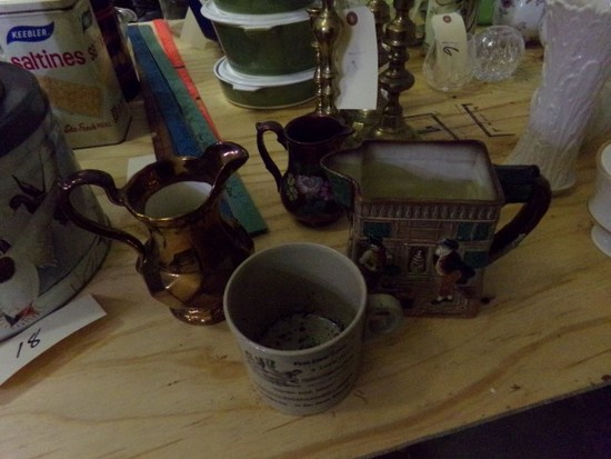 ENGLISH POTTERY LOT INCLUDING ROYAL DOULTON PITCHER AND COPPER LUSTRE