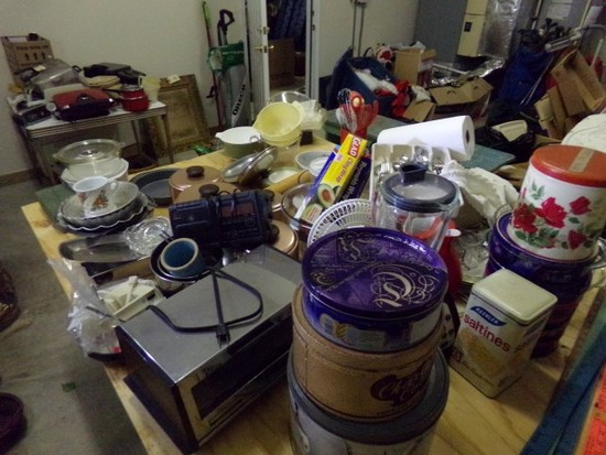 LARGE TABLE LOT OF KITCHEN WARES