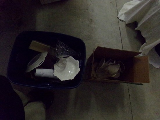 2 BOXES GLASS AND CHINA INCLUDING SPODE LIMOGES AND CUT GLASS