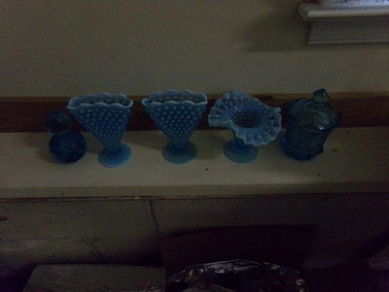 5 PIECES COLLECTIBLE BLUE GLASS
