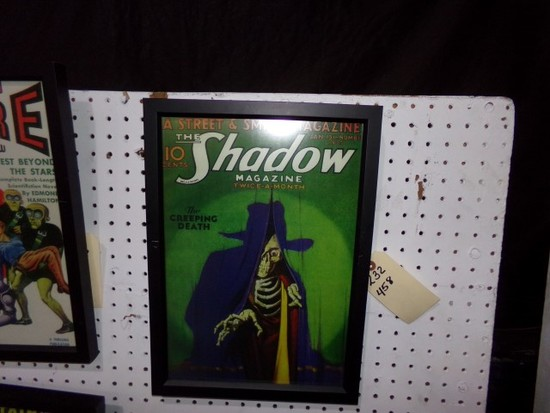 THE SHADOW MAGAZINE REPRODUCTION 1933 FRAMED POSTER APPROX 17 X 12