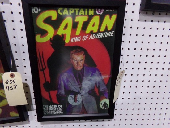 CAPTAIN SATAN KING OF ADVENTURE REPRODUCTION FRAMED POSTER APPROX 17 X 12