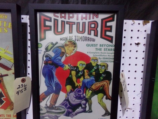CAPTAIN FUTURE REPRODUCTION FRAMED POSTER APPROX 17 X 12
