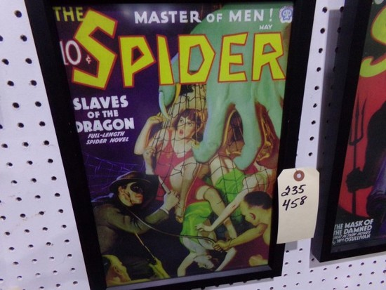MASTER OF MEN SPIDER REPRODUCTION FRAMED POSTER APPROX 17 X 12