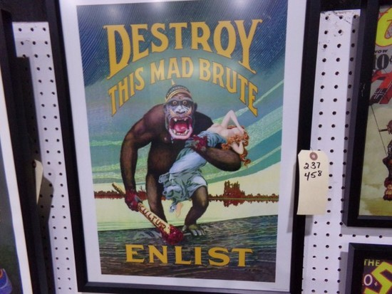 DESTROY THIS MAD BRUTE ENLIST REPRODUCTION FRAMED POSTER APPROX 25 X 19