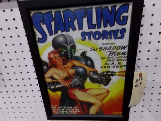 STARTLING STORIES THE SHADOW MEN REPRODUCTION FRAMED POSTER APPROX 17 X 12