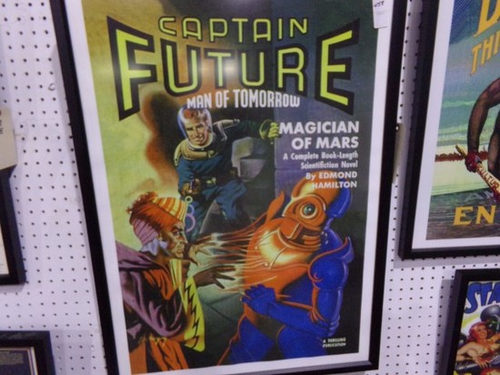 CAPTAIN FUTURE MAN OF TOMORROW REPRODUCTION FRAMED POSTER APPROX 33 X 24