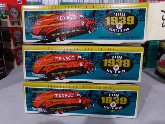 FIVE NEW IN BOX 1939 TEXACO DODGE AIRFLOW COIN BANK WITH KEY DIE CAST METAL
