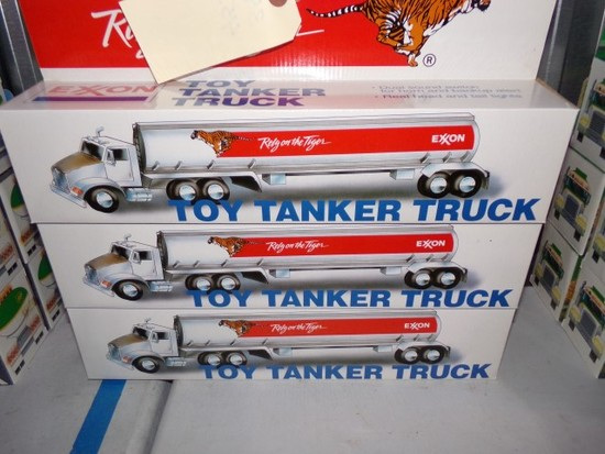 SIX NEW IN BOX EXXON TOY TANKER TRUCKS DUAL SOUND SWITCH FOR HORN AND BACK