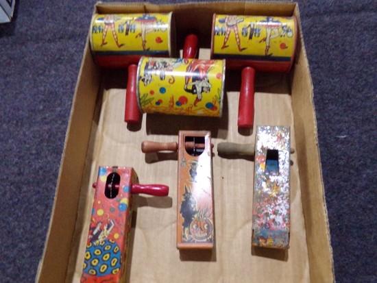 BOX LOT NOISE MAKERS INCLUDING HALLOWEEN NOISE MAKER BY KIRCHHOI NEWARK NEW