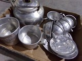 TOY ALUMINUM TEA SET WITH TEA POT AND SAUCERS