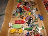 BOX LOT METAL SOLDIERS TOYS CHRISTMAS ORNAMENTS