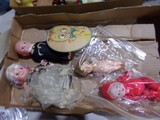 BOX LOT KEWPIE DOLLS ALL MADE OCCUPIED JAPAN AND ONE PAPER KITTEN FAN WITH