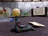 PAIR OCCUPIED JAPAN TIN WIND UP TOYS SEAL BALANCING BALL AND CLUCK CLUCK CH