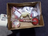 BOX LOT INCLUDING PAPER MASKS CELLULIOD STORK CAMEL CELLULOID ANIMALS NOISE