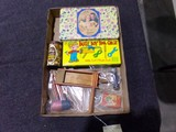 BOX LOT WITH PARTY FAVORS NOISE MAKERS BUSY BOY TOY CHEST AND TRICK FANCY S