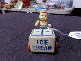 VINTAGE TOY ICECREAM DELIVERY MADE OF CELLULOID WIND UP TIN TOY