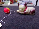 WIND UP CELLULOID CAT CHASING BALL MADE IN OCCUPIED JAPAN