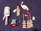 BAG LOT CELLULOID STORK OCCUPIED JAPAN DOLL BABYS RATTLE AND OCCUPIED JAPAN