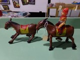 PAIR OF WIND UP TIN HORSES ONE WITH RIDER MADE IN OCCUPIED JAPAN