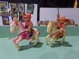 PAIR OF CELLULIOD WIND UP HORSES WITH COWBOYS AND LASSO MADE IN OCCUPIED JA