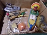 BOX LOT WITH WIND UP CELLULOID DOG INDIAN CHIEF AND CANOE DONKEY BOAT CIGAR