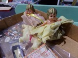 BOX LOT WITH TWO CELLULOID KEWPIE DOLLS DOG AND MORE