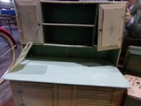 SET OF ANTIQUE TIN TOYS KITCHEN CABINET AND STOVE