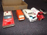 BOX LOT INCLUDING METAL FIRECHIEF 283 CAR TONKA VAN FORD 1949 METAL CAR TEX