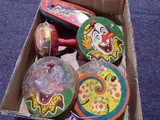 BOX LOT FIVE VINTAGE NOISE MAKERS BY US METAL AND TC
