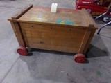 VINTAGE TOY CHEST ON VINTAGE WHEELS