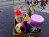 BOX LOT INCLUDING MICKEY MOUSE PARTY HATS GUM BALLS THERMOMETERS TOOTH BRUS