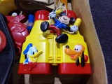 BOX LOT FULL OF MICKEY MOUSE MEMORABILIA HATS BINOCULARS BELTS TISSUES
