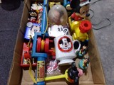BOX LOT FULL OF MICKEY MOUSE MEMORABILIA MUGS RADIO TRAINS WATCH AND MORE